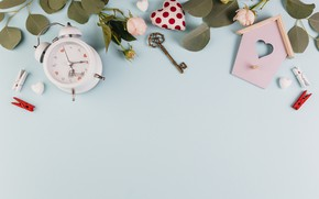 Picture roses, alarm clock, house, decor, key