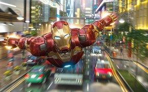 Picture road, machine, the city, lights, speed, art, costume, flight, Iron man, Iron Man