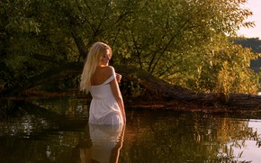 Picture water, girl, river, wet, dress