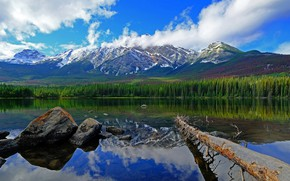 Picture clouds, mountains, lake, Canada, Albert