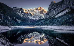 Picture mountains, lake, reflection, Austria, Alps, Austria, Alps, Lake Gosau, Gosauseen, Upper Austria, Upper Austria, Lake …