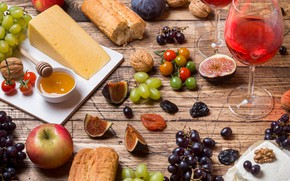 Picture wine, glass, cheese, honey, grapes, baguette, figs