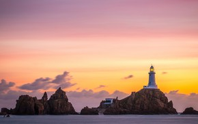 Picture sea, clouds, landscape, sunset, nature, stones, rocks, lighthouse, the evening, Normandy, sunset sky, pink sky, …