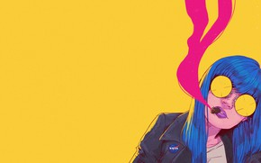 Picture Girl, Minimalism, Glasses, Style, Face, Girl, Art, Art, Style, Cigar, Face, Glasses, Blue hair, Bruno …