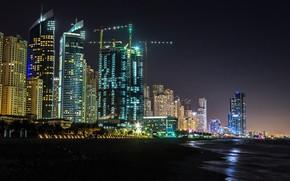 Picture night, lights, coast, building, home, lights, Bay, Dubai, skyscrapers, UAE