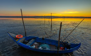 Picture the sky, sunset, river, shore, network, boat, lifeline