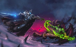 Picture The game, Battle, Illidan, King, The demon, WOW, Stormrage, Lich King, Fantasy, Warcraft, Blizzard, Art, …