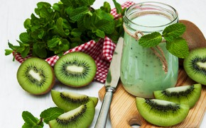 Picture kiwi, smoothies, cocktail, fruit, Breakfast