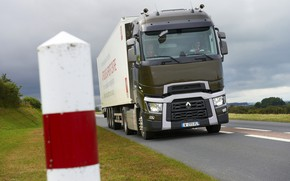 Picture lawn, post, truck, Renault, roadside, tractor, 4x2, the trailer, Renault Trucks, T-series