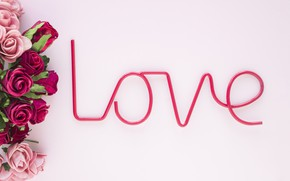 Picture background, pink, the inscription, Love, roses, bouquet, roses