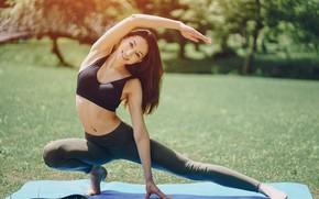 Picture brunette, pose, female, yoga