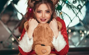 Picture look, girl, branches, smile, balls, toys, new year, spruce, makeup, bear, tree, brown hair, hairstyle, …
