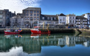 Picture clouds, river, the sky, the sun, water, channel, boats, England, Plymouth, home, Barbican, reflection, HDR