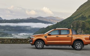 Picture mountains, Ford, profile, pickup, Ranger, Wildtrak