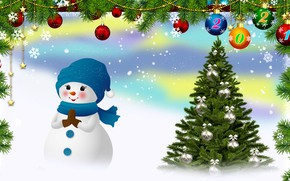 Picture Choinka, New year, Snowman