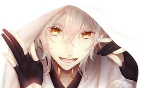 Picture look, hood, art, guy, smile, Touken ranbu