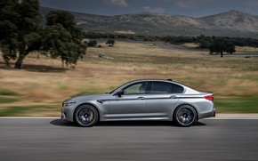Picture grey, vegetation, track, BMW, profile, sedan, relief, 4x4, 2018, four-door, M5, V8, F90, M5 Competition