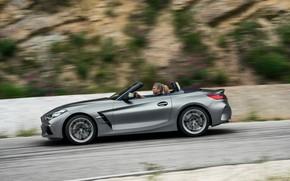 Picture road, grey, vegetation, speed, BMW, slope, Roadster, BMW Z4, M40i, Z4, 2019, G29