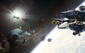 Picture space, the game, asteroids, spaceships