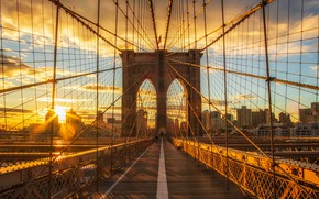 Picture the sky, the sun, clouds, bridge, the city, dawn, shore, building, New York, skyscrapers, morning, …