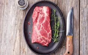 Picture knife, meat, pan, raw meat