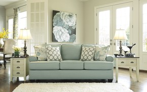 Picture interior, sofa, living room, green living room