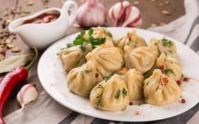 Picture sauce, garlic, khinkali