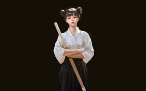 Picture Girl, Sport, Asian, Girl, Japanese, Art, Illustration, Minimalism, Martial art, L.tt.ing l, Training sword, by …