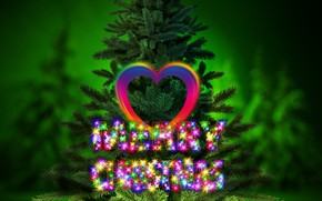 Picture holiday, the inscription, heart, graphics, new year, Christmas, tree, digital art