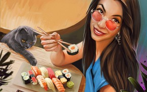 Picture cat, look, girl, smile, glasses, sushi, Kaloyan Stoyanov