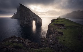 Picture sea, fog, rocks, shore, people, arch