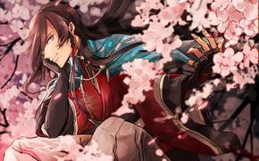 Picture flowers, spring, Sakura, guy, Touken Ranbu, Dance Of Swords, Izumi from Kami Kanesada