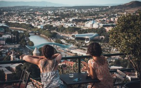 Picture women, bridge, river, panorama, Georgia