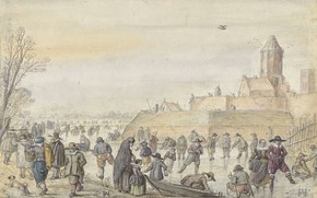 Picture figure, Hendrick Avercamp, Hendrick Avercamp, 1595, The ice entertainment on the channel against the Gate …