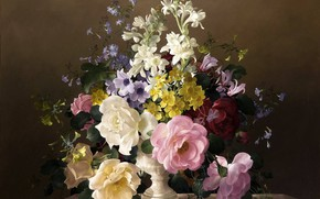 Picture flowers, bouquet, painting
