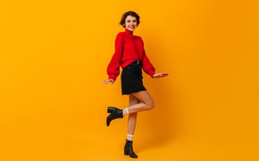 Picture girl, joy, sweetheart, skirt, legs