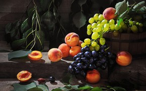 Picture leaves, branches, berries, Board, grapes, fruit, peaches, Sergey Pounder