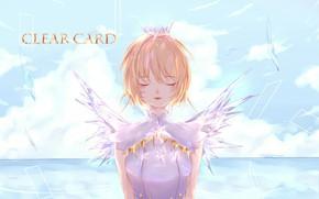 Picture girl, clouds, Card Captor Sakura, Sakura - collector cards