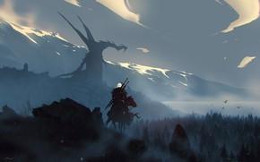 Picture Horse, Night, Dragon, Forest, Monster, Warrior, Fantasy, Dragon, Art, Fiction, Geralt, Witcher, Geralt of Rivia, …