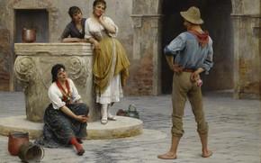 Picture picture, painting, painting, 1894, Flirtation, Flirting, Eugen von Blaas