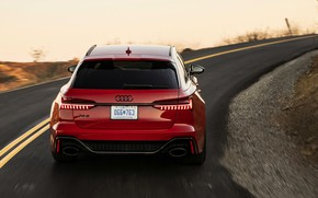 Picture asphalt, red, Audi, rear view, universal, RS 6, 2020, 2019, V8 Twin-Turbo, RS6 Avant