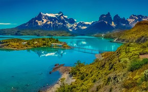 Picture mountains, bridge, island, Chile, lake Pehoe