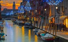 Picture bridge, lights, holiday, Italy, Venice, channel, the island of Murano