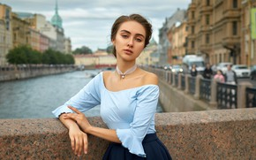 Picture look, bridge, the city, pose, river, model, skirt, portrait, home, makeup, hairstyle, channel, blouse, brown …