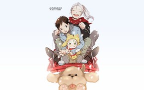 Picture children, dog, anime, art, Yuri on Ice, Yuri on the ice, Viktor Nikiforov, Yuri Katsuki, …