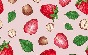 Picture berries, background, strawberry, nuts