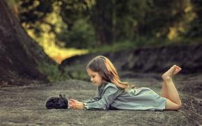 Picture rabbit, girl, friends