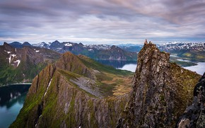 Picture girl, mountains, rocks, Norway, panorama, the fjord, Husfjellet, Steinfjorden