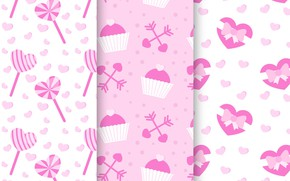Picture background, pink, Pink, candy, dessert, pattern, cupcakes