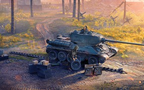 Picture Dawn, Tank, Russian, Game, World of tanks, World of Tanks, T-34-85, WOT, Repair, Tanker